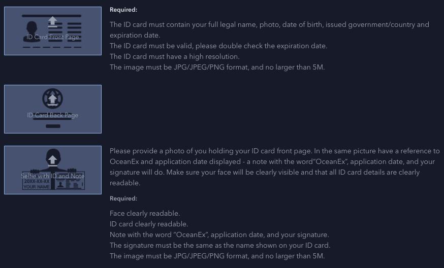 How to Verify ID – OceanEx